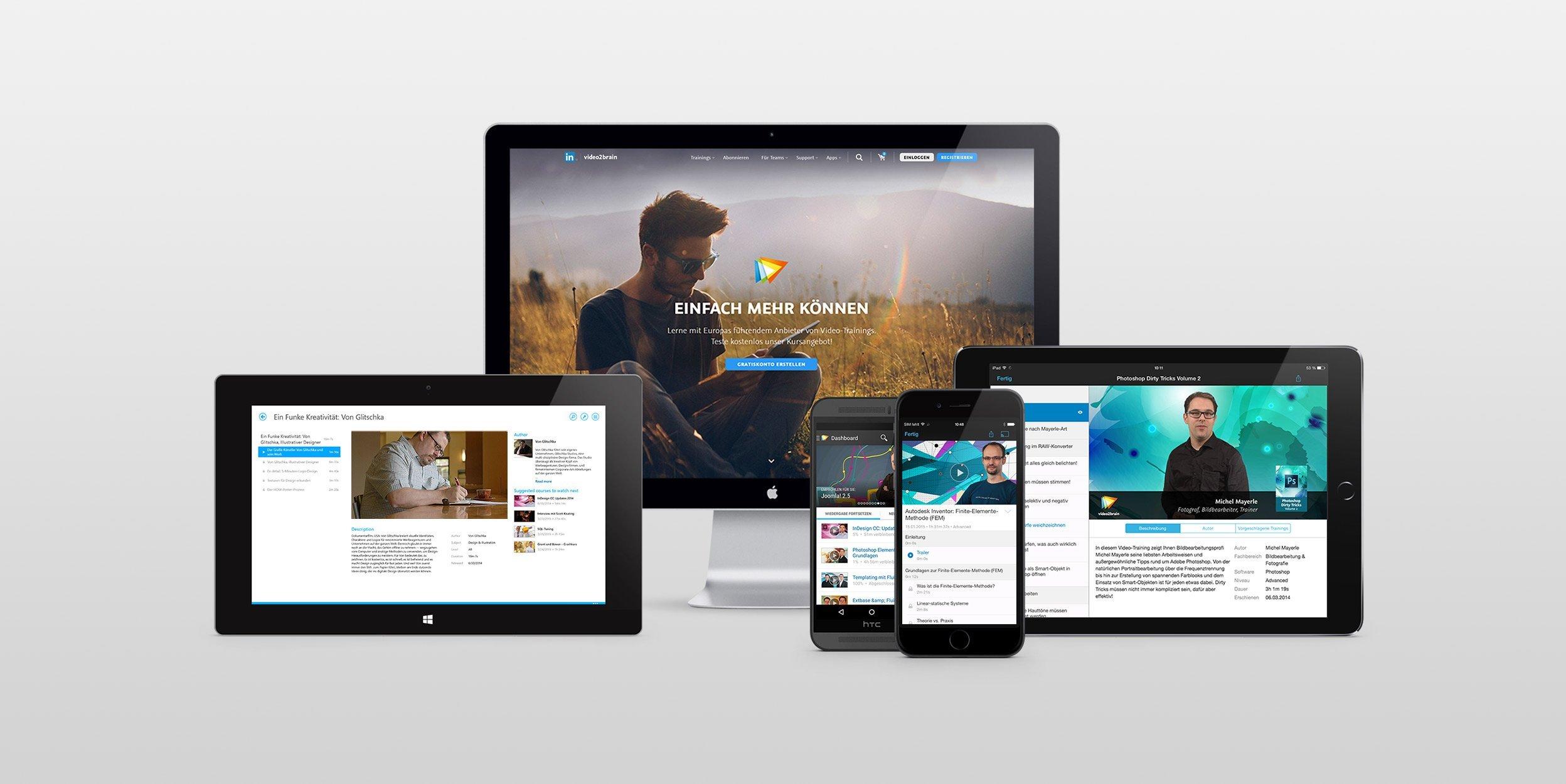 video2brain cross platform screen mockups